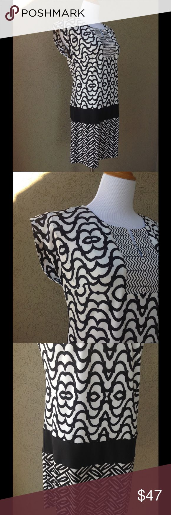 "LAUNDRY SHELLI SEGAL Drop Waist Geometric Dress Striking black and white patterns with a drop waist. Split neck. Fully lined. Approx measurements laid flat: U-U 18"" across, waist 17"" acr, hips 19.5"" acr, length 33.5"". Machine wash cold. New condition, no stains inside or out, no pulls, holes or loose seams. Laundry by Shelli Segal Dresses"