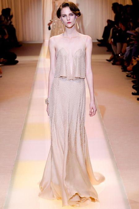 Beige / nude sleeveless dress. Armani Prive, Couture Fall 2013. Photo: Marcus Tondo / InDigital | GoRunway