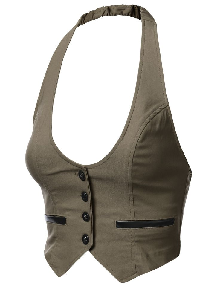 Womens Chopped Halter Vest with 4 Buttons #doublju