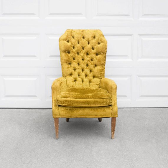 Beautiful Gold Vintage High Back Tufted Chair Have A Seat