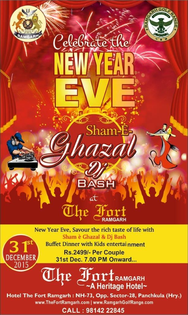 New Year Gala Dinner & DJ Bash & Ghazal Night by Tahir Haleem from Malerkotla!!! Only Rs.2500 Per Couple/- 100% Vegetarian, No Hard Drinks, Family Celebration!!!!! Limited Pass available. Get your Ticket Now @ 98142 22845Stay packages also available....
