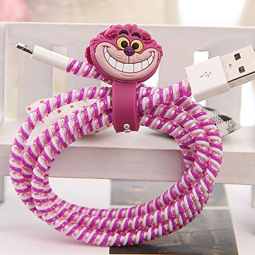 Tospania DIY Cartoon Style Spiral Wire Protectors for Apple Lightning Cables/Samsung and other Tablet Charging Cables/ Earphone Cords and More (Cheshire Cat) Tospania http://www.amazon.com/dp/B015MFET0E/ref=cm_sw_r_pi_dp_3qnSwb13QG35W