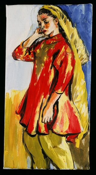 Sandra Fisher Woman Standing in India Dress 1990s oil on canvas, 15 x 8 inches  Private Collection (c) Estate of Sandra Fisher