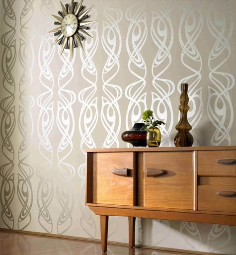 metallic wallpaper, art nouveau, midcentury modern, sideboard, buffet