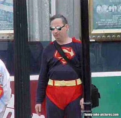 Funny Superman Retirement Bus Stop Picture. Sometime's a guy's just gotta embrace his inner superman.
