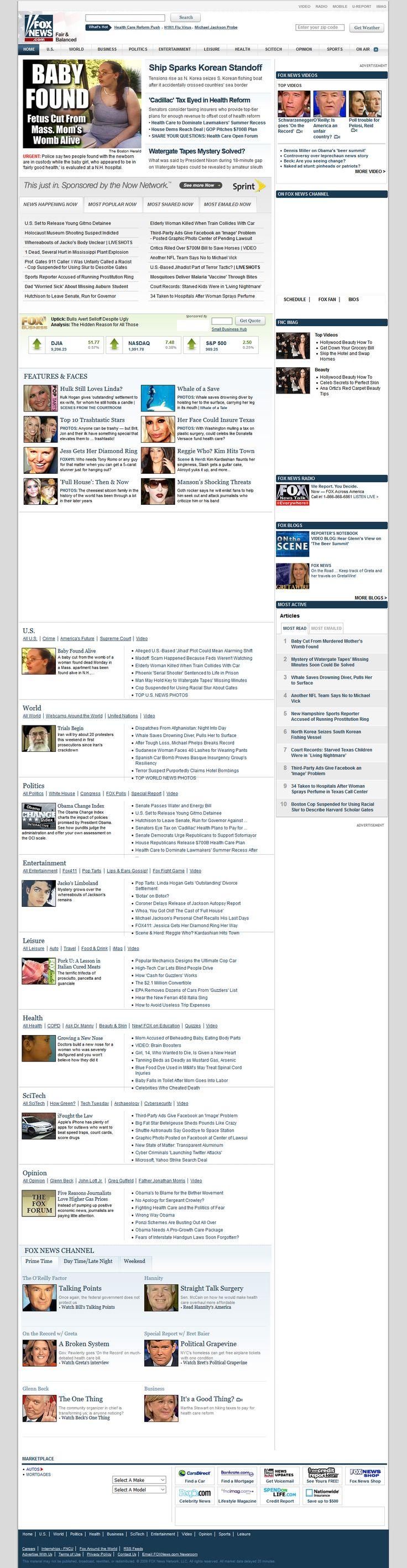 Fox News Channel website in 2009