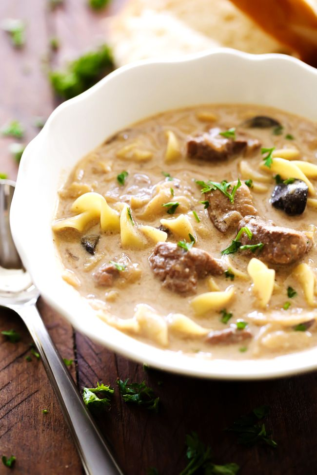 Beef Stroganoff Soup... This soup is a fabulous spin on a classic recipe. It is packed with flavor and is absolutely DELICIOUS! It is wonderful on a cold day and will quickly become a family favorite!!