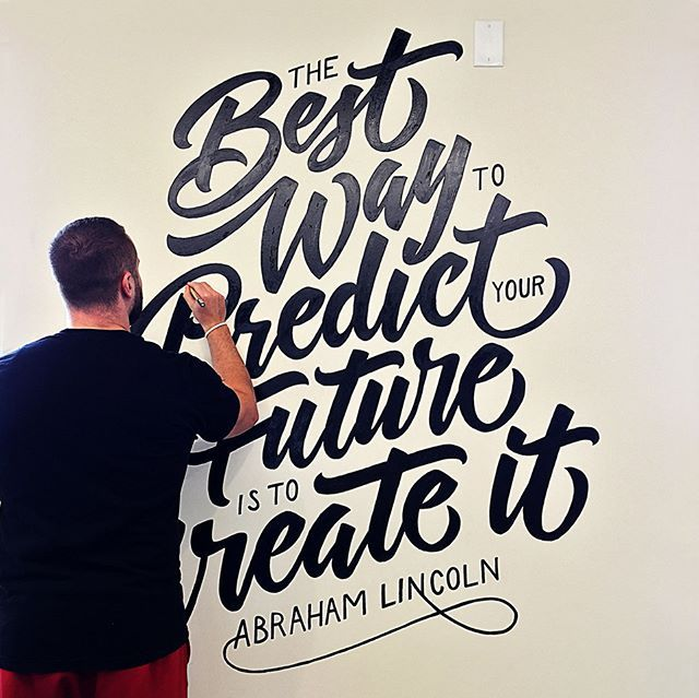 Got to take my last post and turn it into a lettering mural for a local creative entrepreneur workspace. • I'm available to hire for your custom lettering mural needs!