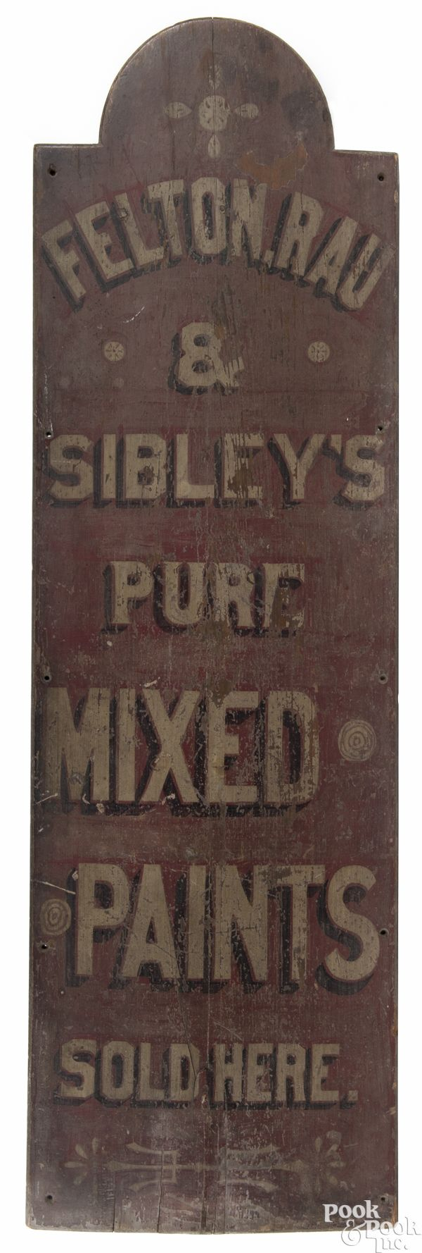 Philadelphia painted pine trade sign, ca. 1880, for Felton, Rau & Sibley's Mixed Paints