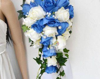 fiore di seta bouquet di nozze, rosa, giglio, cascata, stile lungo