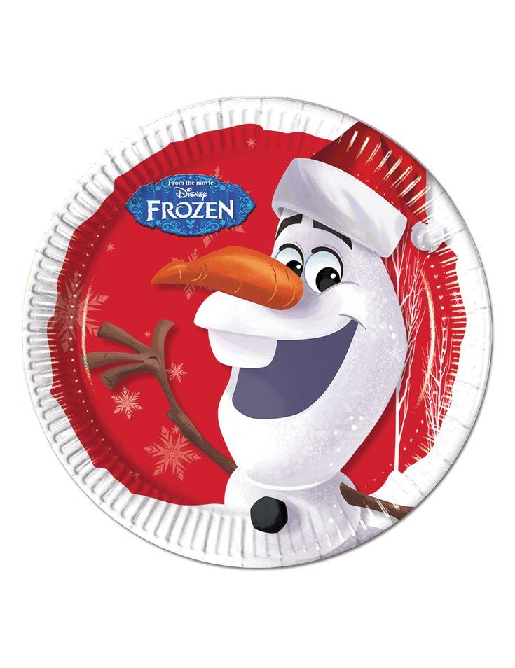 8 Platos cartón Olaf Navidad™ 23 cm
