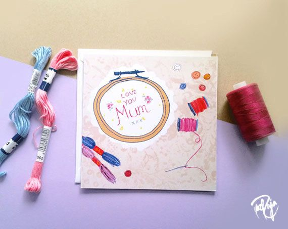 CLEARANCE - I love you sew much Mother's Day Card with white envelope #sewing #mothersday #crafts #embroidery #textiles