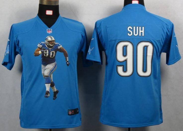... amazon new arrivals nike detroit lions 90 ndamukong suh blue portrait  fashion game youth nfl jerseys 17ab3835a