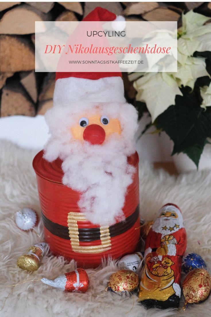 Wie Du Mit Einfachen Sachen Die Jeder Zu Hause Hat Diese Diy Nikolausgeschenkdose Basteln Kannst Zeig Ich Dir Weihnachtsmann Basteln Geschenke Bastelarbeiten