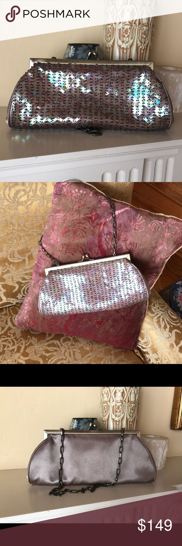 Drap Barcelona clutch Sparkles and satin. Neutral color. No beads missing Drap of Barcelona Bags Clutches & Wristlets