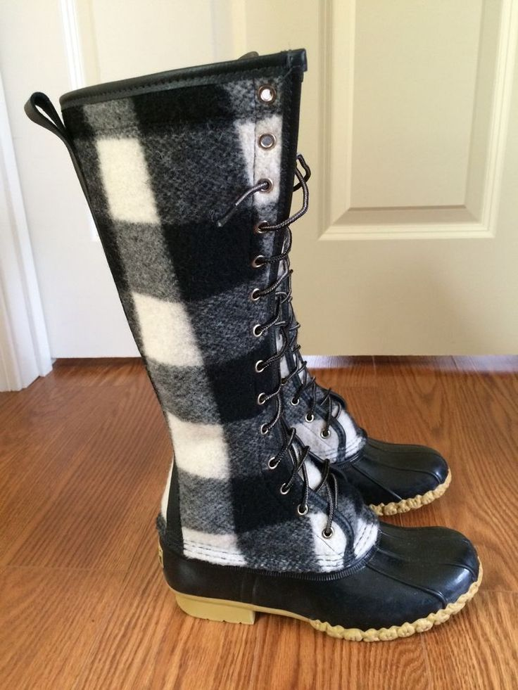 ll bean signature bean boots 7 black and white wool buffalo plaid check gumshoes wool ll bean. Black Bedroom Furniture Sets. Home Design Ideas