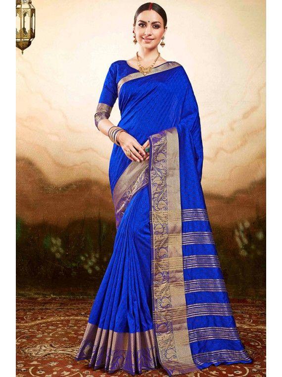 Fabulous Royal Blue Printed Silk saree