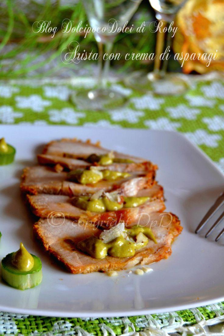Arista con crema di asparagi, un secondo di carne delizioso! Da prepararsi il giorno prima per una cena importante ..da farci un figurone! QUI la Ricetta  http://blog.giallozafferano.it/dolcipocodolci/arista-con-crema-di-asparagi-dolcipocodolci/