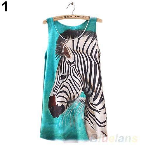 Летние топы 2014 Женская безрукавка Зебра Графический Печатные майка Ти нижняя рубашка Блузки топ женский 0DEB