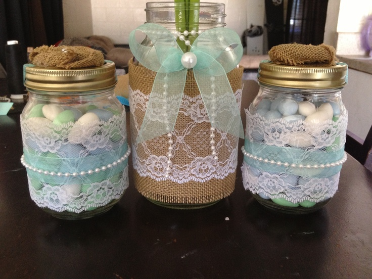 Mason Jar Wedding Center Pieces Lace Burlap Pearls Tiffany Blue Ribbon