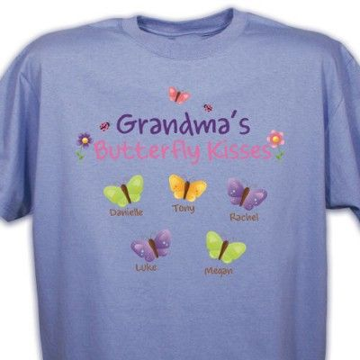 Personalized Butterfly Kisses T Shirt for Grandma or Mom - add up to 30 kids names underneath their own butterflies. Use any title (Mommy, Granny, etc) at top.