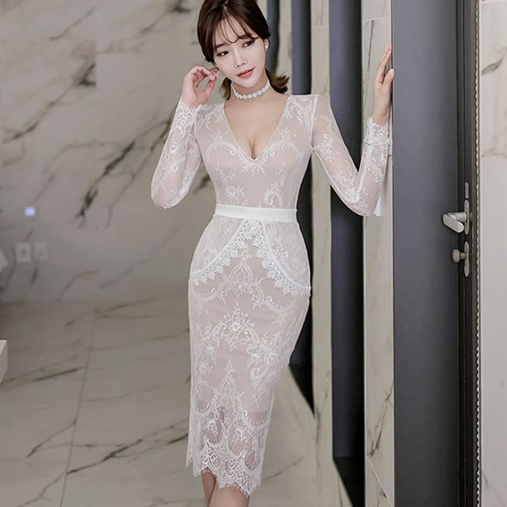 Cheap lace dress, Buy Quality white lace dress directly from China vintage dress Suppliers: 2017  Spring  Sexy Party Dresses Women Bodycon Vestidos Solid Maxi Vintage Dresses Long Sleeve V-Neck Sheath White Lace Dress