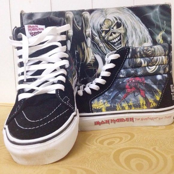 ⚡️ISO⚡️Iron Maiden Vans Number the Beast skate hi I have literally every other pair of Iron Maiden Vans Skate Hi's but these!!!!! I need them😩 I wear I size 7/7.5/8 women's which works to being a 5.5/6 men's. Please let me know if you have these or if you know where I can find them! Thanks ✨ tags: metal band sk8 his high top tennis shoes number of the beast killers powerslave music 666 Vans Shoes