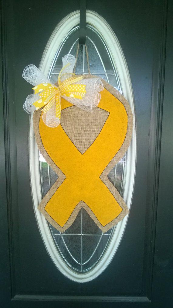 Childhood Cancer Ribbon Burlap Door Hanger by AustinAvenueEast, $30.00