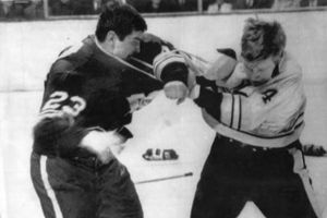 Bobby  Orr Vs Pat Quinn . ( Yes That Pat Quinn) Unlike the star players today , Bobby Orr could fight his own battles .