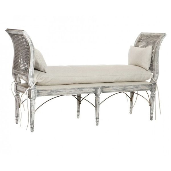 Gray Washed Cane Bench ($1,775) ❤ Liked On Polyvore Featuring Home,  Furniture,