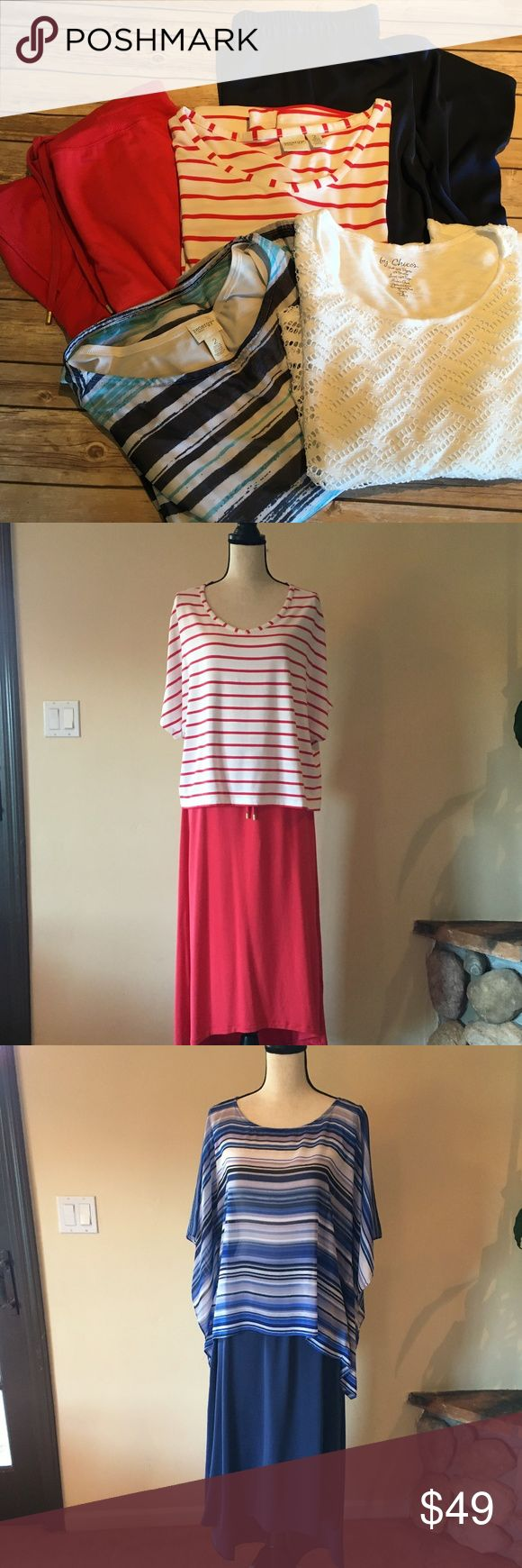 "Chico's Zynergy top & skirt lot, Blue/Pink, M/L This is a beautiful set of versatile skirts & tops. Can be worn casually with a denim jacket or dressed up with blazer.  All in Excellent condition. Price is firm. Skirts are M but run big.  •	Mai tai stripe top large, L; Cotton blend, Bust 24.5"" x length 23"" •	Mai Tai skirt m/l; Cotton blend, length 28.5 - 35.5""  •	Blue-white strip top large; Nylon blend, bust 2"" x length 25""  •	Blue skirt m/l; Polly blend, Length 28"" - 38"" •	White top large…"