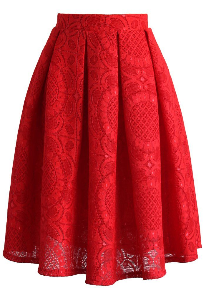 Sunflower Lacey Skirt in Red - New Arrivals - Retro, Indie and Unique Fashion
