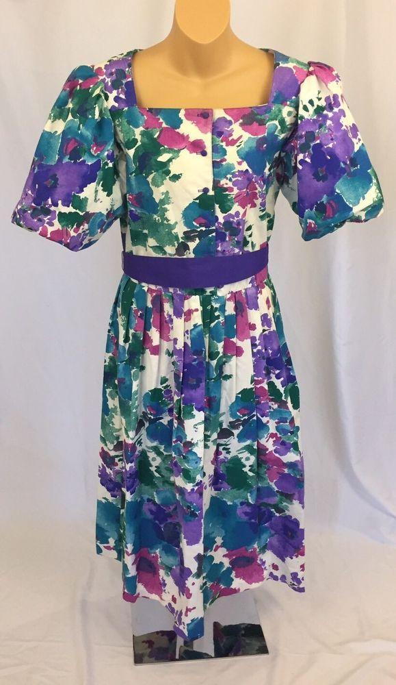 Vintage Cotton Floral Dress Puff Sleeves Turquoise Purple Green Full Skirt 8 #IreneHerberts #TeaDress