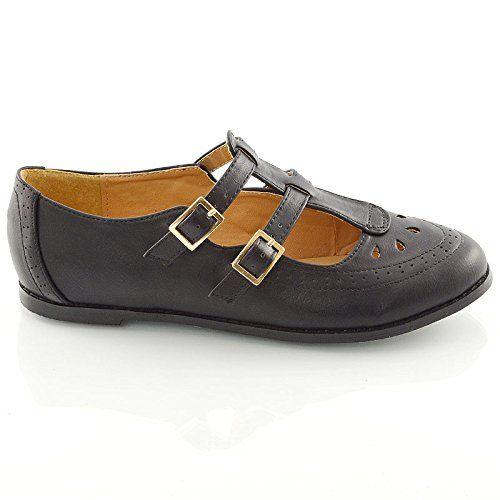 LADIES CUT OUT GEEK PUMPS SCHOOL OFFICE WORK T BAR WOMENS FLAT SHOES SIZE 3 4 5 6 7 8 (UK 5 / EU 38 / US 7, BLACK PU)