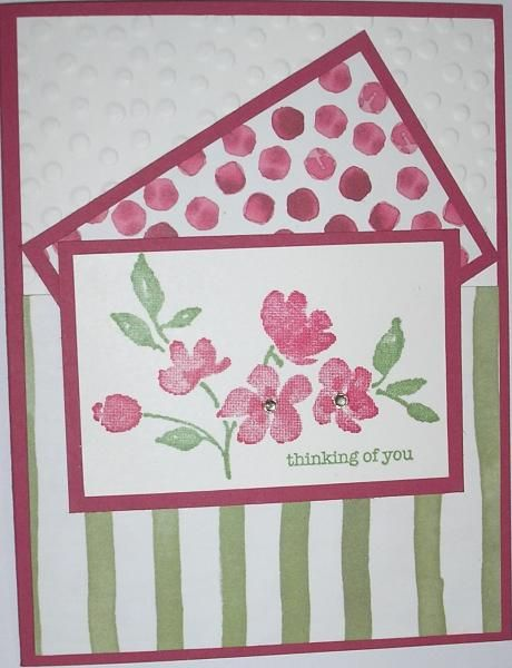 Stamps: Painted Petals, Teeny Tiny Wishes  Paper: Rose Red, Whisper White, Painted Blooms DS  Paper Size: A2  Ink: Rose Red, Wild Wasabi  Accessories: Decorative Dots embossisng folder, stamp positioner, 2-small rhinestones, tape  Techniques: Stamping