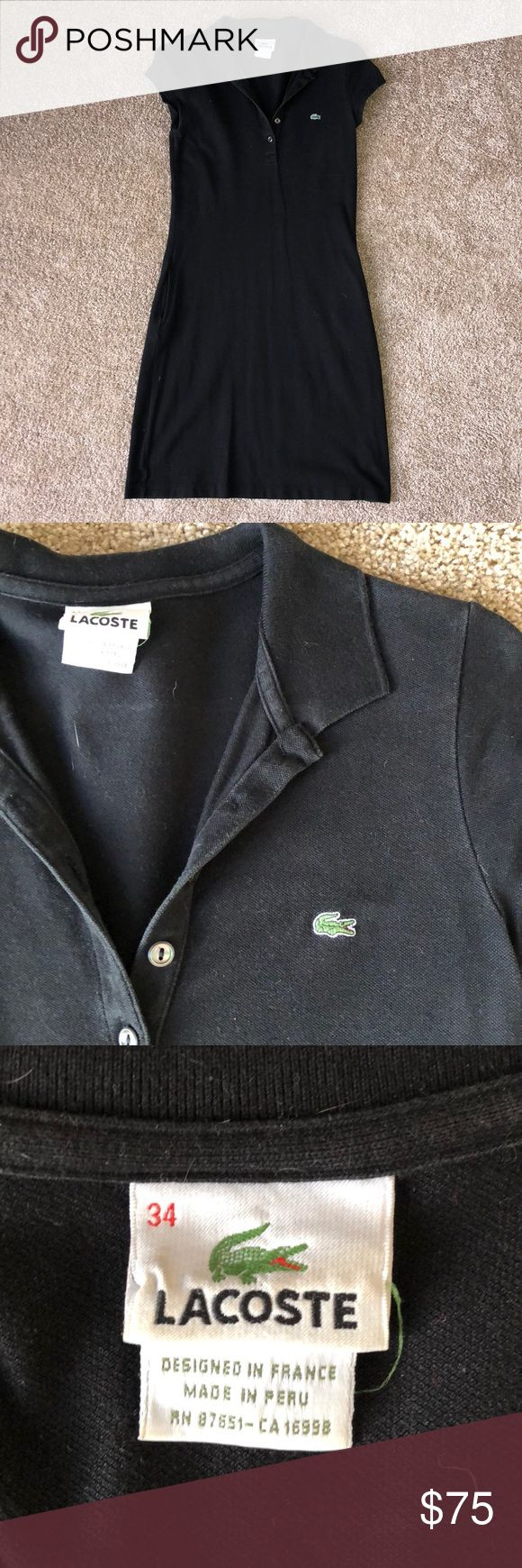 Lacoste polo shirt dress Good condition; black polo shirt dress with pockets Lacoste Dresses Midi