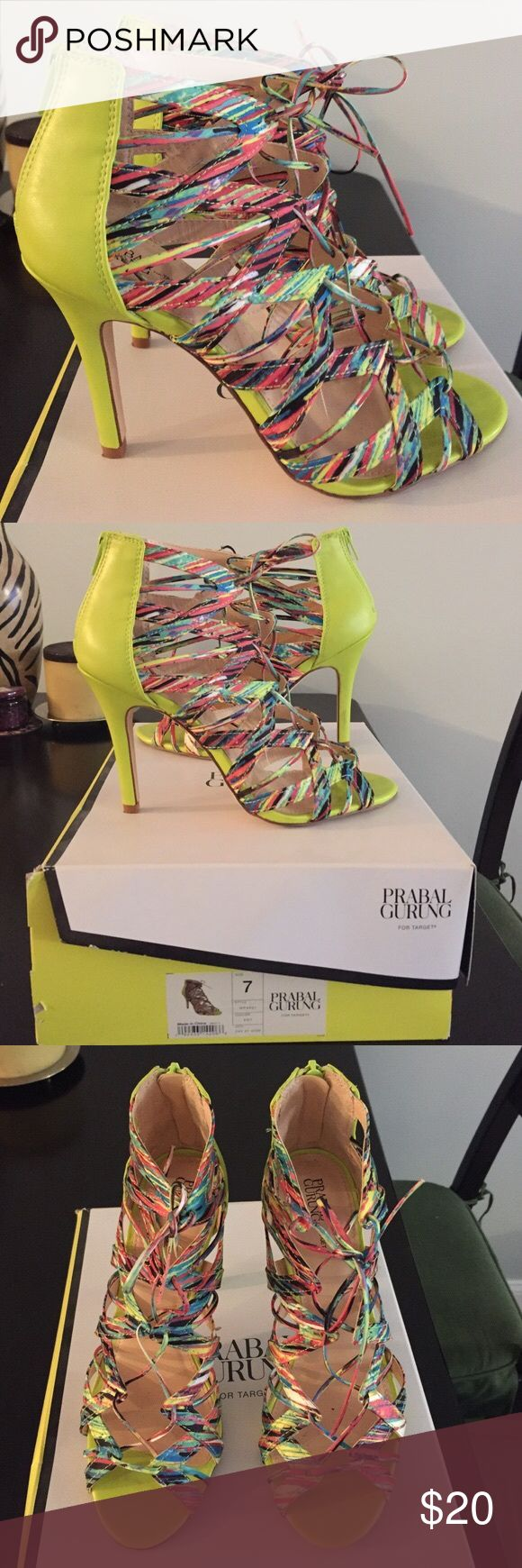 ISO Prabal Gurung Multi-colored strappy heels I'm looking for a pair of the above listed shoes in good condition in a size 8 for a reasonable price. If you have any or know anyone that may, please contact me!  I'm very interested in purchasing a pair of these heels!  Thank you!  I am wiling to pay a reasonably asked price! Prabal Gurung Shoes Heels