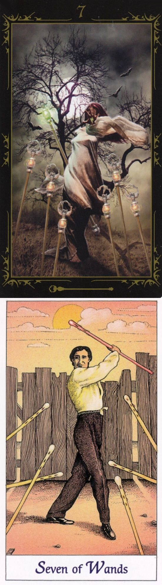 Seven of Wands: maintaining control over victory and giving up (reverse). Dark Fairytale Tarot deck and Cosmic Tarot deck: free one card tarot, one card love tarot and tarotof the witches. Best 2018 tarot altar spiritual and cartomancy.