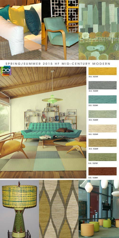 From Design Options, a fabulous CA-based color forecasting company: a preview of upcoming trends in interiors for the Spring Summer 2015 season. Their outlook includes distinct trends, Mid Century Modern.