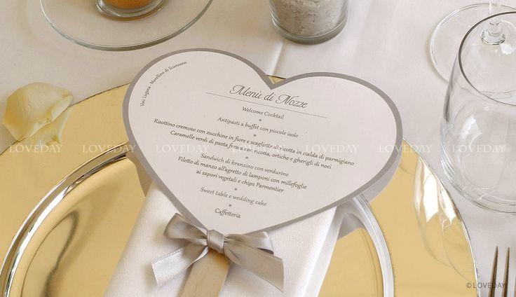 menu matrimonio cuore argento, by Loveday