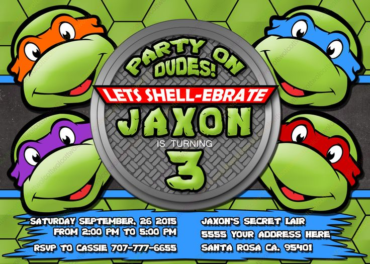 The 25 best Ninja turtle invitations ideas on Pinterest Ninja