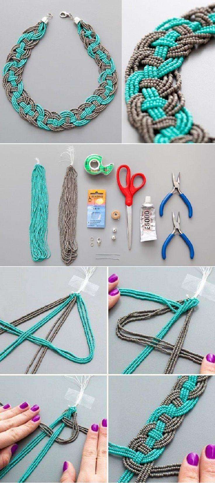 DIY: collar trenzado en chaquiras turquesa y gris.