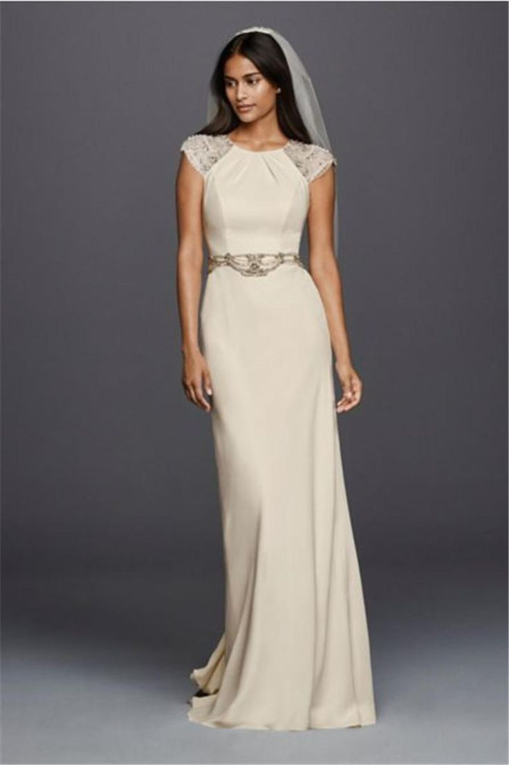 Cap sleeved crepe sheath wedding dress jp341608 highly for Sheath wedding dress with cap sleeves