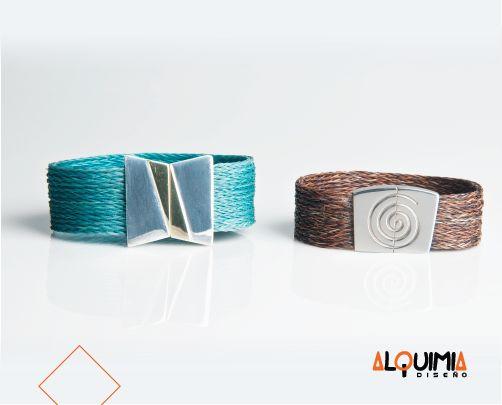 Pulsera Plata y Bronce con Crin Color 2.5cm -PULP016. Pulsera Plata y Crin 2cm - PULPC001.