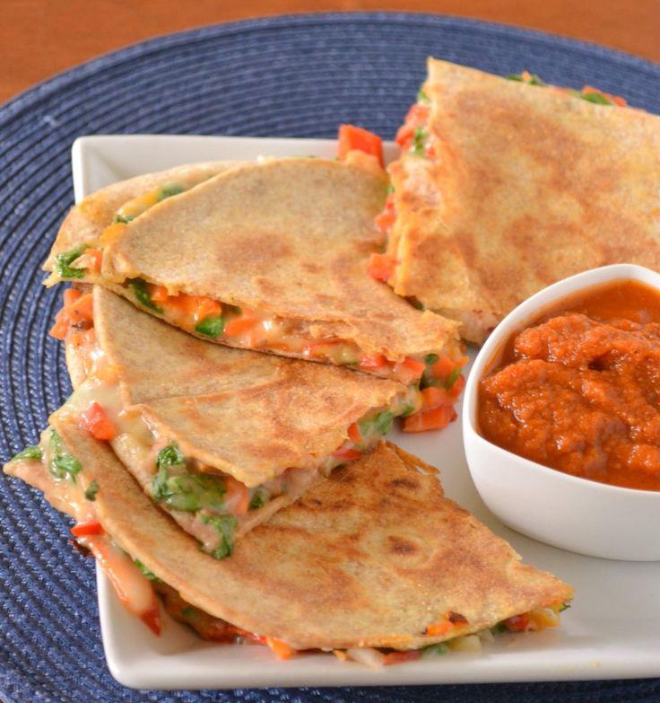Vegetable Quesadillas     Also love this recipe: http://allrecipes.com/recipe/farmers-market-vegetarian-quesadillas/