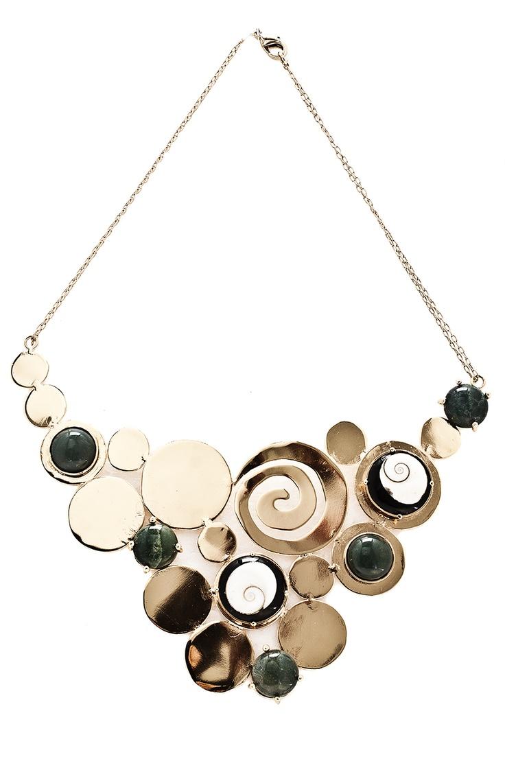 Collar de círculos con Agata y caracol shiva - $379000 / EL precio incluye envió Nacional.