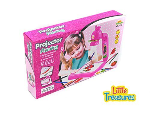 Little Treasures Princess Projector painting and Drawing set for girls complete with pink princess projector, 3 round lantern slide discs, projector pad and The Projector Painting Art kit Textbook. -- This is an Amazon Affiliate link. For more information, visit image link.