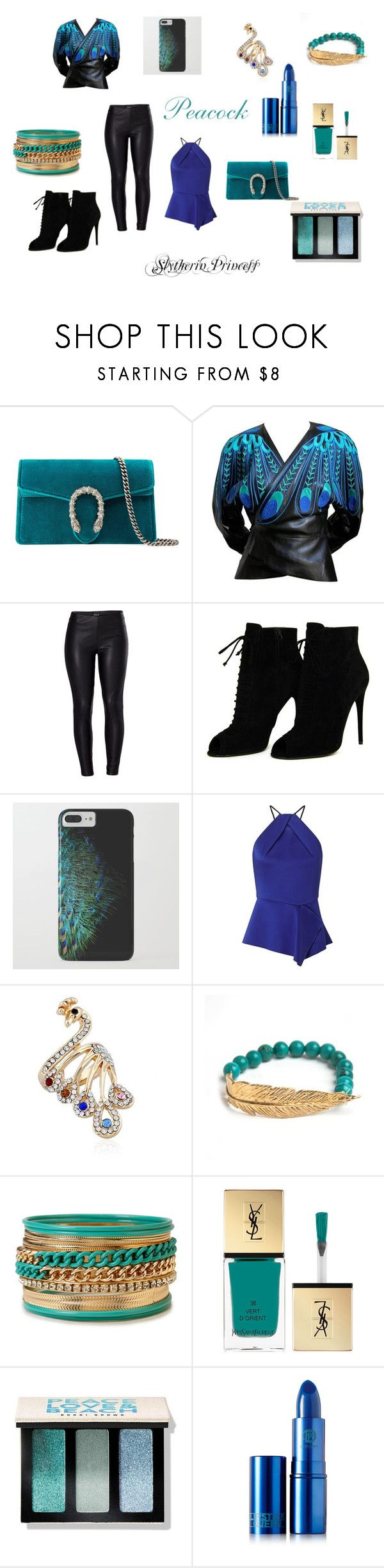 """Peacock"" by zillah-conder ❤ liked on Polyvore featuring Gucci, Jitrois, Venus, Tom Ford, Roland Mouret, LeiVanKash, Forever 21, Yves Saint Laurent, Bobbi Brown Cosmetics and Lipstick Queen"