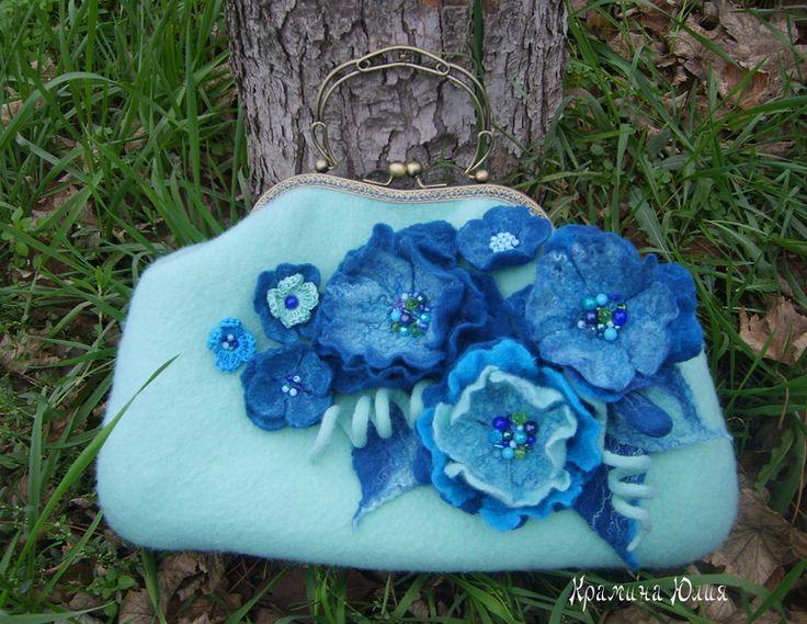 Felted handbag handmade-Mint,green,blue-Metal Fram from YuliasFeltworld by DaWanda.com