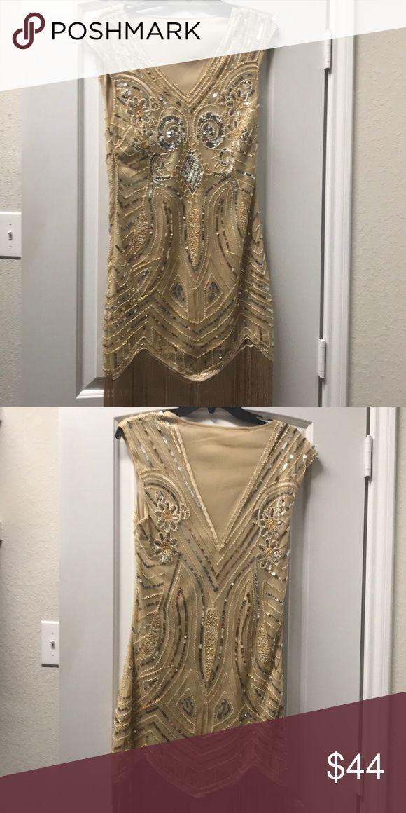 fringe flapper dress Vintage style nude beige and gold sequin cap sleeve flapper dress. Dresses